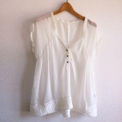 ◆FREE'S SHOP/フリーズショップ◆シフォンオーバーサイズシャツ★ホワイトM美品♪