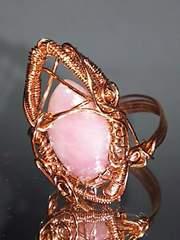 ★特別価格start★ワイヤアートリング#12★ピンクソープストーンマーキス型18�o珠★