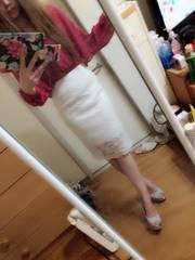 ホワイトレースミディアム丈スカート