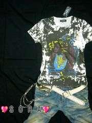 【LOWBOX】イーグル切りっぱなしTシャツブラック