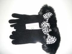 プライベートレーベルニット手袋黒リボン