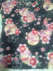 ☆新柄黒×大鞠桜和柄ダボシャツL