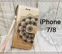 iPhone7/8 手帳型 花柄ケース オルテガ +液晶フィルム 金