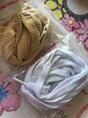 新品大人用靴ひも/白、金2セット