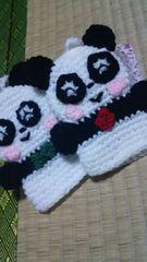 毛糸アミグルミ。パンダ。男の子と女の子のカップルです。