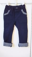ラキエーベ キムラタン 秋冬 ネイビー 裾チェック柄 長ズボン サイズ90