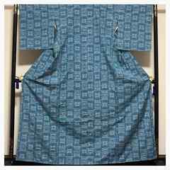 上質 正絹 紬 水色 袷 身丈161 織り柄 中古品