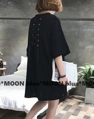 【4L5L】大きいサイズ!バックリボン編み上げ*裾ヘムラインワンピース/黒