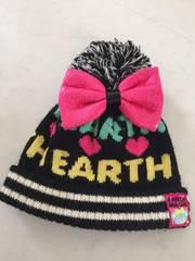 ★earthmagic★リボン付きニット帽Sブラック