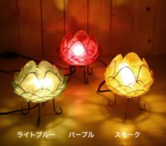 カピス貝で作った蓮華ロータスランプ照明ライト