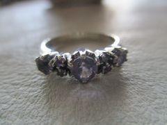 Silver925 純銀指輪 天然石アメジスト #12     n93