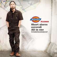 ad0121bsm■DICKIES Short Sleeve COVERALLS (33999) XL黒