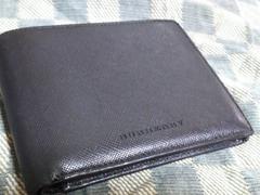 バーバリー 本革製二折財布 ブラック・中古