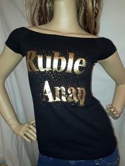 ANAP USA オフショル ゴールド ロゴ スタッズ Tシャツ 黒