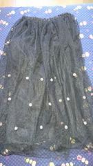 ブラックレースのロングスカート