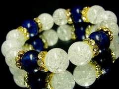 ラピスラズリ瑠璃石§クラック爆裂水晶§14ミリ§花形金ロンデル