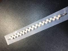 新品 手作り 本物真珠 ブレスレット ホワイト色