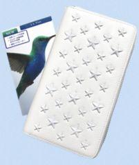 アイコス2.4Pケースラウンドファスナー長財布型ホワイト星スタッズ新品