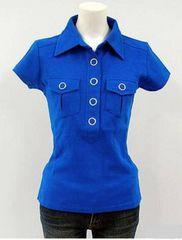 ◇アイレットボタンデザイン●フレンチスリーブシャツ3色選択