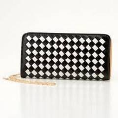 手編みイントレチャート長財布  ZH1402 ブラック