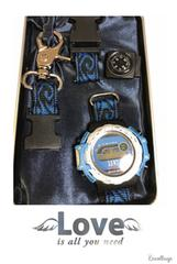 新品 サバイバル 時計 迷彩柄 青 電池切れの為ジャンク