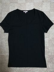 美品ユニクロUNIQLOスポーティー黒TシャツM吸湿速乾ブラック