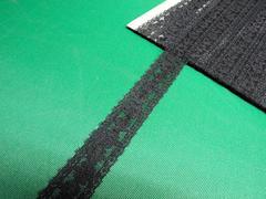 処分・約2.5cm幅×約20m・黒系のラッセルレース(��91210)