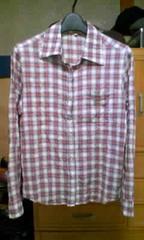 新品 細身タイト シワ加工 チェック柄 長袖シャツ Sサイズ 赤色×白色 ロック
