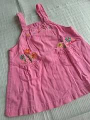 ミキハウス★80�p★お花刺繍★ジャンバースカート★