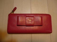 PRADA プラダ レザー リボンのL字ファスナーの長財布