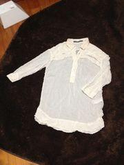 ZARA BASIC シンプルシャツ ホワイト 八分袖