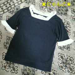 中古美品ミルクTシャツネイビーフリル付き紺milkスクエアネック半袖スカラップ白