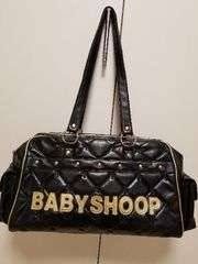 baby shoop◆シュープデカロゴキルトボストンバッグ黒gold