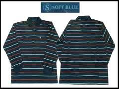 新ボーダーストライプポロー 2XL Soft Blue 紺色