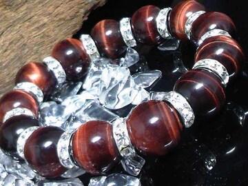 レッドタイガーアイ14ミリ§銀ロンデル赤虎目石数珠