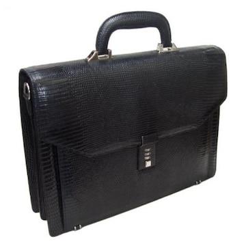 トカゲ革全面ビジネスバッグLD-8891whブラック