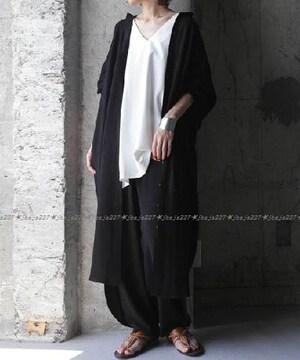 antiqua アンティカ 麻混素材ロングシャツ シャツワンピース 黒 ブラック