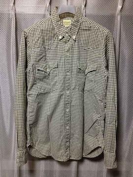 ウエアハウス BD ウエスタンシャツ 長袖シャツ Sサイズ36 チェック柄 カーキ緑×白 日本製