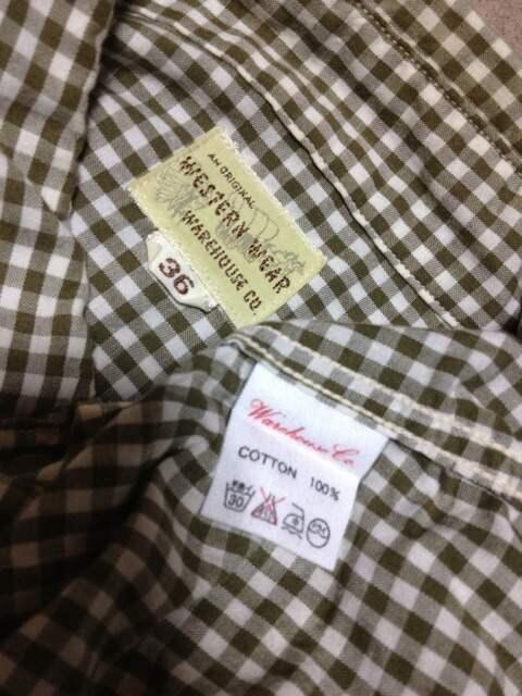 ウエアハウス BD ウエスタンシャツ 長袖シャツ Sサイズ36 チェック柄 カーキ緑×白 日本製 < ブランドの