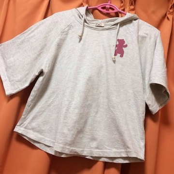 ゆったり身幅の肩落ち◆フード付Tシャツ◆130