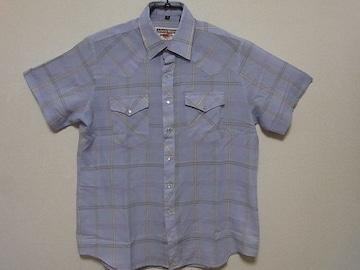 即決USA古着●鮮やかチェックデザインウエスタン半袖シャツ!ヴィンテージ