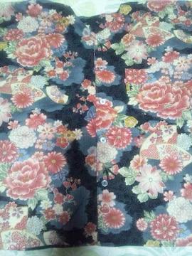 ☆新柄黒桜刺子×花扇子四季華々和柄ダボシャツ140