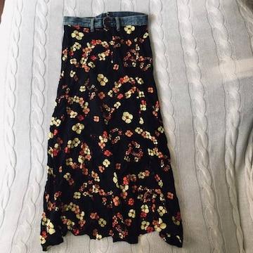 リメイク マキシスカート 花柄 ロングスカート