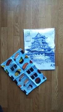 大阪城Tシャツ新品&寿司柄手ぬぐい、ハンカチ使用済みの2点セット