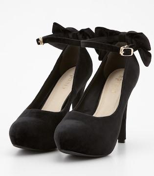 rienda黒ベロアリボンパンプスSリエンダブラック靴ハイヒールエロカワ小悪魔ageha
