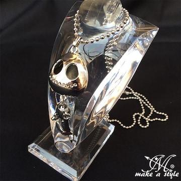 シルバー スケルトン ロボットスタイル ネックレス 銀127 スカル