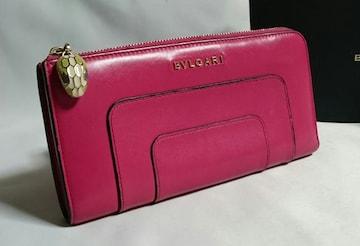 正規良 BVLGARIブルガリ セルペンティ スネーク装飾 L字型ジップ長財布 ピンク