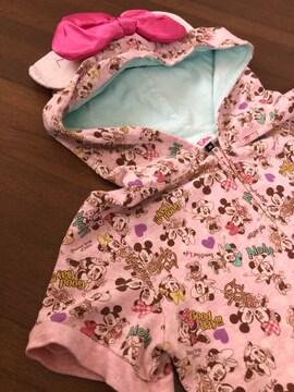 【pinklatte】でかリボン付きフードパーカー半袖xs140-Disney