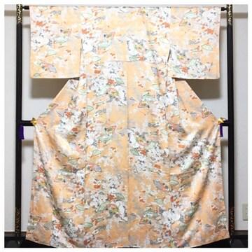 美品 身丈161 裄64.5 正絹 極上 袷 小紋 薄いオレンジ 花模様