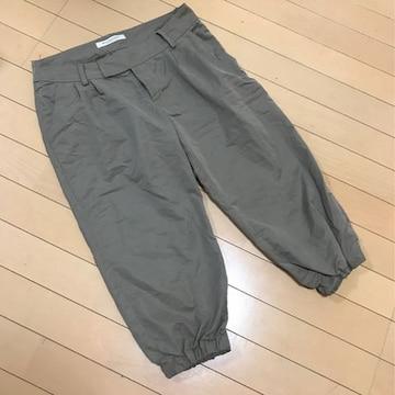 半端丈パンツ◆カーキブラウン◆W67裾ゴム七分丈◆日本製